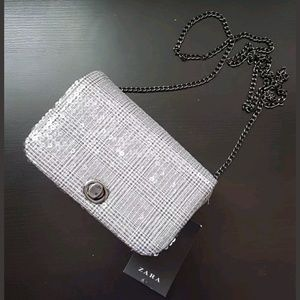 Zara Houndstooth Plaid Sequin Crossbody Handbag
